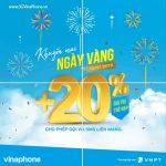 Khuyến mãi Vinaphone ngày vàng 10/7/2018 tặng 20% giá trị thẻ nạp