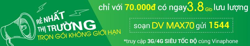 Đăng ký gói BIG70 Vinaphone 70.000đ được ưu đãi 2,4GB lưu lượng