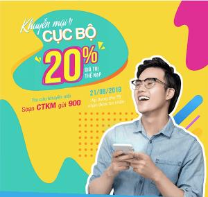 Khuyến mãi Vinaphone cục bộ ngày 21/8/2018 tặng 20% giá trị thẻ nạp
