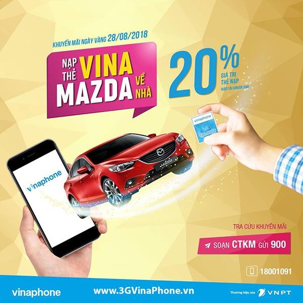 Vinaphone khuyến mãi ngày vàng 28/8/2018 tặng 20% giá trị thẻ nạp