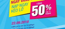 Khuyến mãi Ezpay Vinaphone trả sau tặng 50% giá trị thẻ nạp 22/9/2018