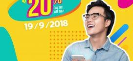 Vinaphone khuyến mãi ngày vàng 19/9/2018 tặng 20% giá trị thẻ nạp