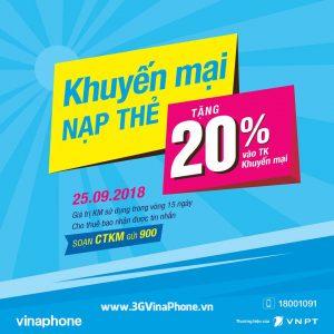 khuyến mãi VinaPhone ngày 25/9/2018 Cục Bộ tặng 20% thẻ nạp