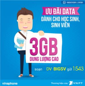 Đăng ký gói BIGSV Vinaphone cho sinh viên nhận 3GB data chỉ 50.000đ