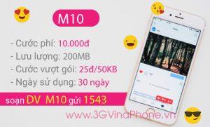 Cách đăng ký gói cước M10 Vinaphone giá rẻ 10.000đ/tháng nhận 200MB data