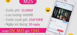 Đăng ký gói M25 VinaPhone  chỉ 25.000đ nhận 600MB data 3G/4G/5G