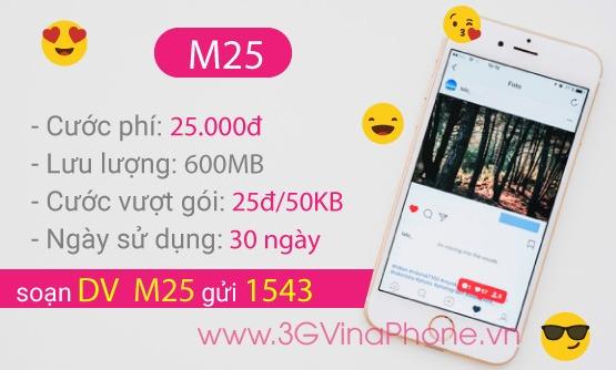 Đăng ký gói cước 3G 4G M25 VinaPhone giá cước chỉ 25.000đ nhận 600MB data