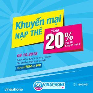 Khuyến mãi cục bộ Vinaphone tặng 20% giá trị thẻ nạp 9/10/2018