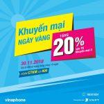 Vinaphone khuyến mãi tặng 20% giá trị thẻ nạp ngày 30/11/2018