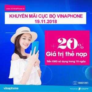 Vinaphone khuyến mãi nạp thẻ tặng 20% ngày 19/11/2018 Cục Bộ
