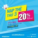 Vinaphone khuyến mãi cục bộ ngày 27/11/2018 tặng 20% giá trị thẻ nạp