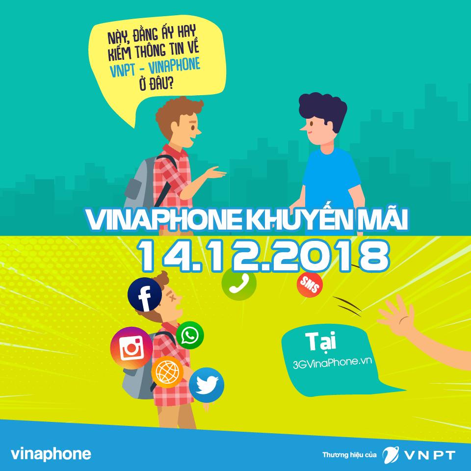 Vinaphone khuyến mãi ngày vàng 14/12/2018 tặng 20% giá trị thẻ nạp