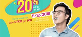 Vinaphone khuyến mãi ngày 11/12/2018 tặng 20% giá trị thẻ nạp cục bộ