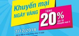 Vinaphone khuyến mãi ngày vàng 7/12/2018 tặng 20% giá trị  thẻ nạp
