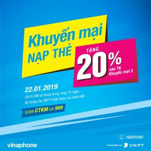 Khuyến mãi Vinaphone 22/1/2019 tặng 20% giá trị thẻ nạp cục bộ