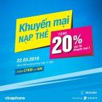 Khuyến mãi Vinaphone ngày 22/3/2019 tặng 20% giá trị thẻ nạp cục bộ