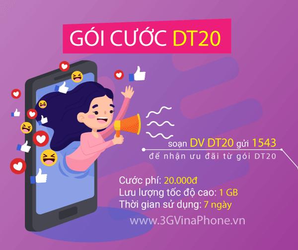 Đăng ký gói cước DT20 Vinaphone nhận 1GB data 1 tuần chỉ 20.000đ