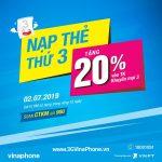 Vinaphone khuyến mãi cục bộ ngày 2/7/2019 tặng 20% giá trị thẻ nạp
