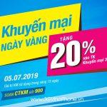 Vinaphone khuyến mãi ngày vàng 5/7/2019 tặng 20% giá trị thẻ nạp
