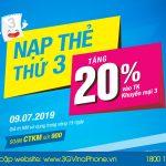 Khuyến mãi cục bộ Vinaphone tặng 20% giá trị thẻ nạp ngày 9/7/2019