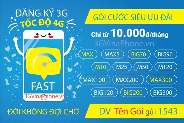Đăng ký gói cước 3G Vinaphone cho thuê bao trả sau mới nhất 2019