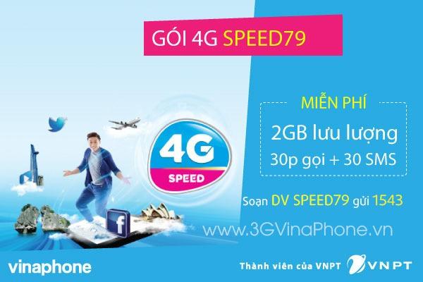 Đăng kýgói cước SPEED79 Vinaphone nhận 2GB data 4G + 30 phút gọi + 30 SMS