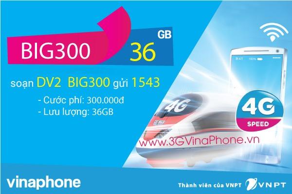 Đăng ký gói cước BIG300 Vinaphone miễn phí 36 GB Data giá 300.000đ