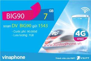 Đăng ký gói BIG90 VinaPhone nhận 7 Gb data chỉ 90.000đ /tháng
