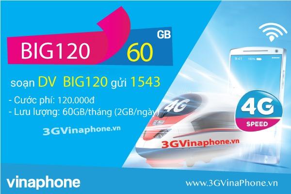 Đăng ký gói BIG120 VinaPhone nhận 120GB data 3G/4G/5G chỉ 120.000đ