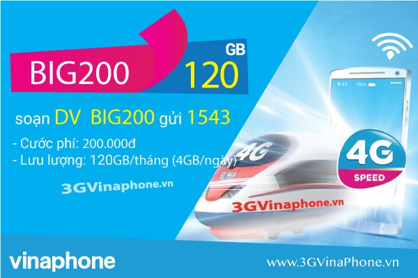 Đăng ký gói cước BIG200 Vinaphone miễn phí 120GB DATA chỉ 200.000đ/tháng