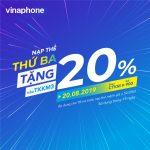Vinaphone khuyến mãi ngày 20/8/2019 tặng 20% giá trị thẻ nạp mệnh giá từ 50.000đ trở lên
