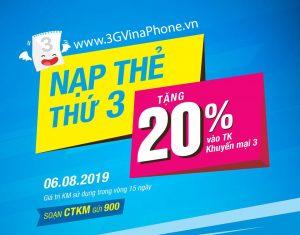 Khuyến mãi Vinaphone cục bộ 6/8/2019 tặng 20% giá trị thẻ nạp