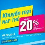 Vinaphone khuyến mãi ngày 9/8/2019 tặng 20% giá trị thẻ nạp cục bộ