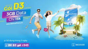 Đăng ký gói cước D3 Vinaphone nhận 3GB data chỉ 15.000đ sử dụng 3 ngày