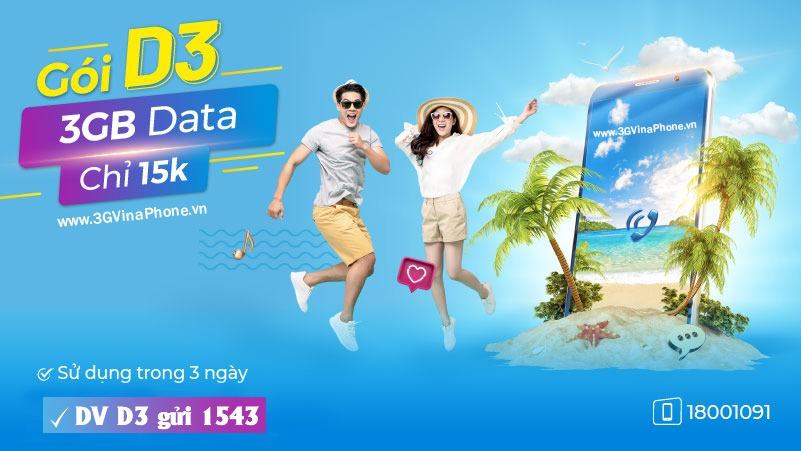 Đăng ký gói cước D3 Vinaphone nhận 3GB data chỉ 15.000đ dùng 3 ngày