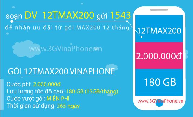 Đăng ký gói cước 12TMAX200 Vinaphone  nhận 180GB data trọn gói
