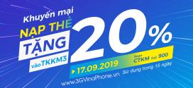 Vinaphone khuyến mãi ngày 17/9/2019 tặng 20% giá trị thẻ nạp cục bộ