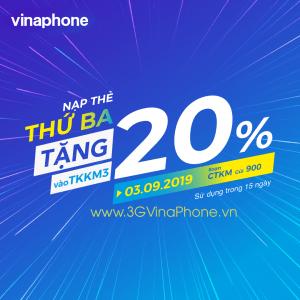 Vinaphone khuyến mãi thứ 3 vui vẻ tặng 20% giá trị thẻ nạp ngày 3/9/2019