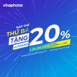 Khuyến mãi VinaPhone ngày 24/9/2019 tặng 20% giá trị thẻ nạp cục bộ