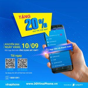 Vinaphone khuyến mãi cục bộ ngày 10/9/2019 tặng 20% giá trị thẻ nạp qua My VNPT