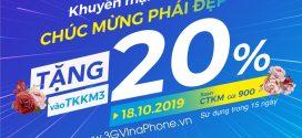 Khuyến mãi Vinaphone tặng 20% giá trị thẻ nạp ngày vàng 18/10/2019