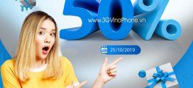 Khuyến mãi Vinaphone ngày vàng 25/10/2019 tặng 50% giá trị thẻ nạp