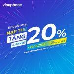 Vinaphone khuyến mãi ngày 29/10/2019 tặng 20% giá trị thẻ nạp cục bộ