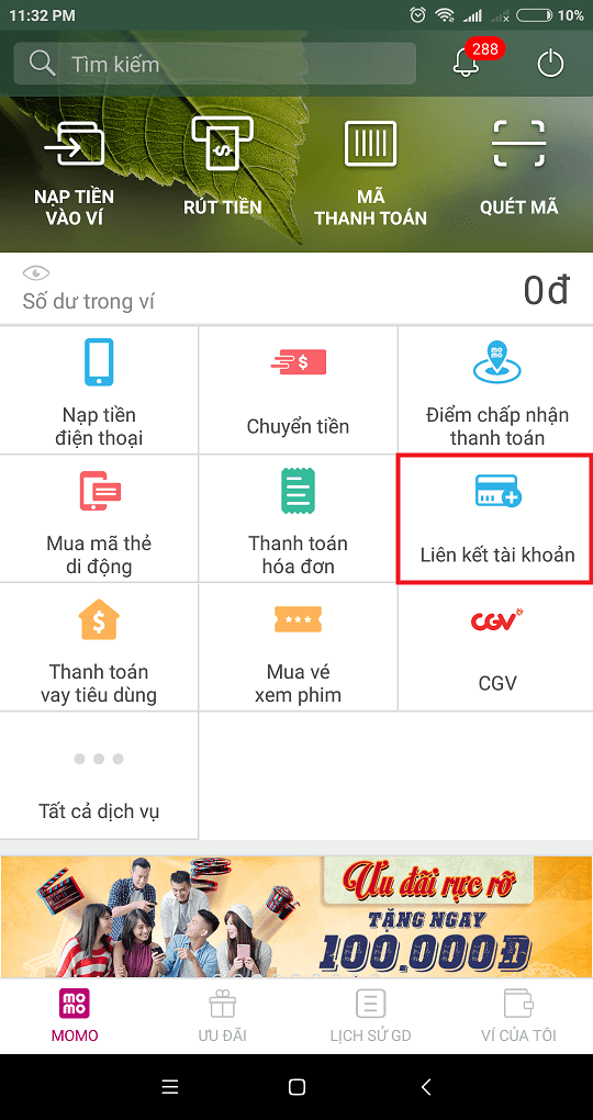 Cách liên kết ví điện tử MOMO với ngân hàng Shinhan Bank