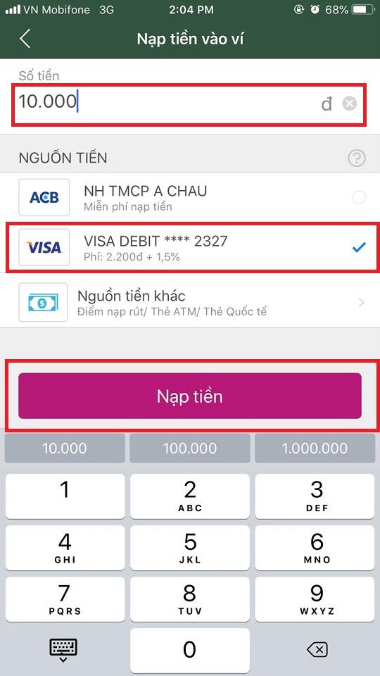 Cách nạp tiền vào ví MOMO từ Thẻ thanh toán quốc tế