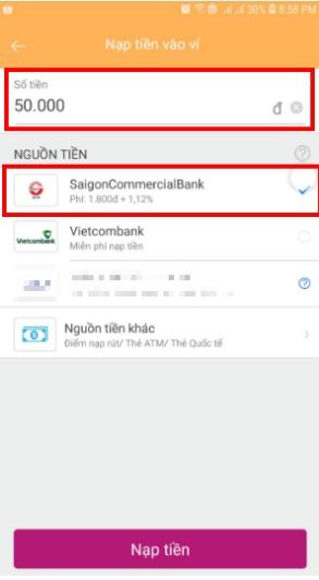 Cách nạp tiền vào ví MOMO từ thẻ ATM của tất cả các Ngân hàng nội địa