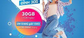 Đăng ký gói cước D30G Vinaphone nhận 30GB data + gọi không giới hạn