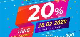 Khuyến mãi Vinaphone ngày vàng 28/2/2020 tặng 20% giá trị thẻ nạp