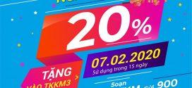 Vinaphone khuyến mãi ngày 7/2/2020 tặng 20% giá trị thẻ nạp toàn quốc