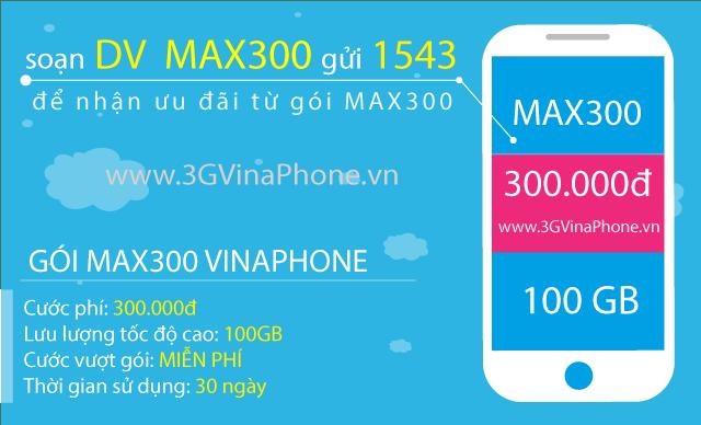 Đăng ký gói MAX300 Vinaphone nhận 100GB data 3G/4G/5G chỉ 300.000đ